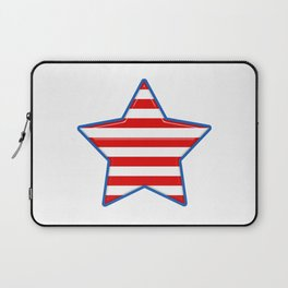 Patriotic Star Blue Border Red and White Stripes Laptop Sleeve