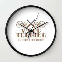Carpentry Tee For Carpenters Saying Wood Turning It's Cheaper Than Therapy T-shirt Design Jigsaw Wall Clock