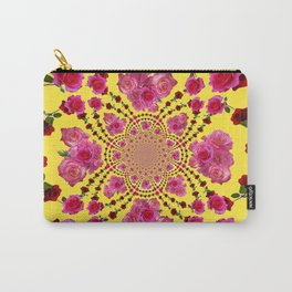 PINK-RED ROSES ON YELLOW-PINK ART Carry-All Pouch