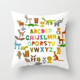 back to school. alphabet for kids from A to Z. funny cartoon animals Throw Pillow