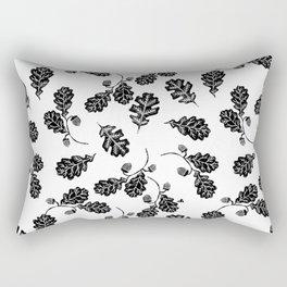 Oak Leaf linocut black and white lino illustration printmaking fall autumn winter home decor minimal Rectangular Pillow