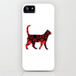 Red flower cat iPhone Case