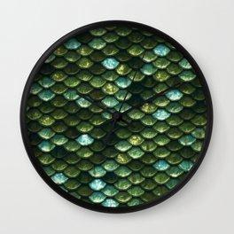 Aqua and green sparkling mermaid glitter scales- Mermaid Scales Wall Clock