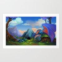 dragons Art Prints featuring Dragons by Leksotiger