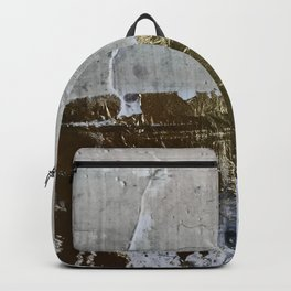 Elegantly Rough: an abstract, minimal piece in gold, pink, black and white by Alyssa Hamilton Art Backpack