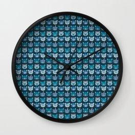 Cute Bear Faces Pattern Wall Clock