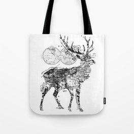 Deer Wanderlust Black and White Tote Bag