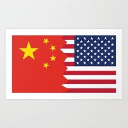 Half Chinese American Flag Art Print