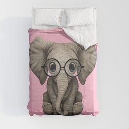 Cute Baby Elephant Calf with Reading Glasses on Pink Comforters