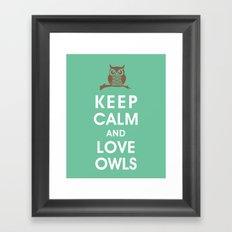 Keep Calm and Love Owls Framed Art Print