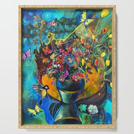 Flowers in Blue Landscape Serving Tray