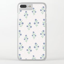 Mauve pink white blue hand painted polka dots floral Clear iPhone Case
