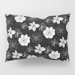 Black and white flowers Pillow Sham