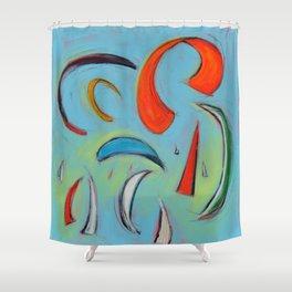 Sails & Kites in Aqua Shower Curtain