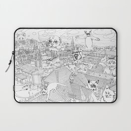 Giant cats and dogs take over the city Laptop Sleeve