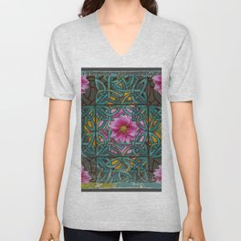 GRUNGY ANTIQUE PINK FLORAL CELTIC PATTERN Unisex V-Neck