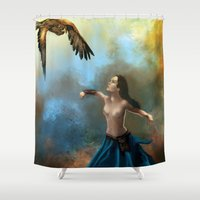 hawk Shower Curtains featuring Lady Hawk by Art of Nuno Pinto