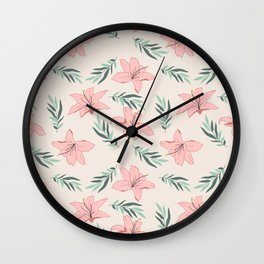 Blush Tropical Flowers- Mid Century Modern Pattern Wall Clock