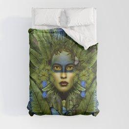 """Tropical green and indigo jungle Woman"" Comforters"