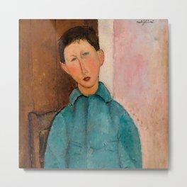 "Amedeo Modigliani ""Boy in a Blue Vest"" 1918 Metal Print"