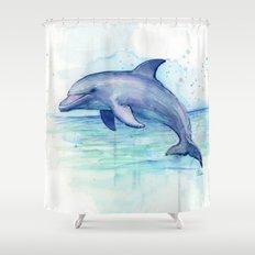 Dolphin Watercolor Sea Creature Animal Shower Curtain