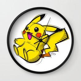 Pika Digital Drawing, Cartoon Art, PokemonArt, Nintendo Art Wall Clock