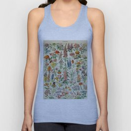 Flowers Vintage Scientific Illustration French Language Encyclopedia Lithographs Educational Unisex Tank Top
