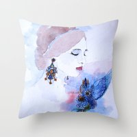 lady Throw Pillows featuring Lady by S.Svetlankova