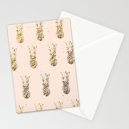 Gold Pineapples Stationery Cards