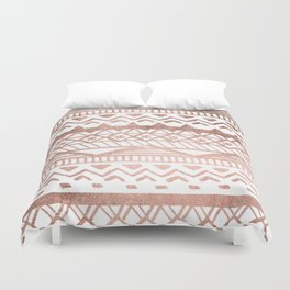 Faux rose gold handdrawn trendy tribal aztec pattern Duvet Cover