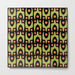 Mid Century Modern Abstract Pattern 546 Green Orange and Black Metal Print
