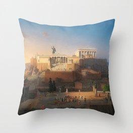 The Acropolis of Athens, Greece by Leo von Klenze Throw Pillow