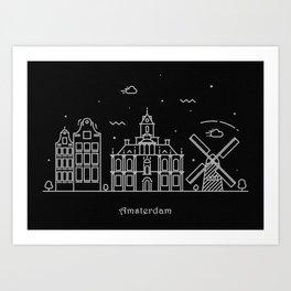 Amsterdam Minimalist Skyline Drawing Art Print