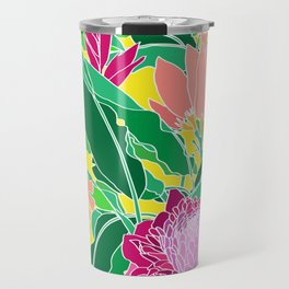 Bird of Paradise + Ginger Tropical Floral in Canary Yellow Travel Mug