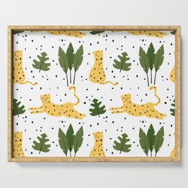 cute trendy abstract pattern background with leopards and tropical leaves Serving Tray