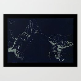 Yosemite Glacier Point Drawing Art Print