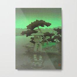 Kawase Hasui Vintage Japanese Woodblock Print Glowing Green Neon Sky Over A Zen Garden Shrine Metal Print