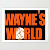 snl Art Prints featuring Waynes World logo SNL saturday night live 90s Funny Geek Nerd by jekonu