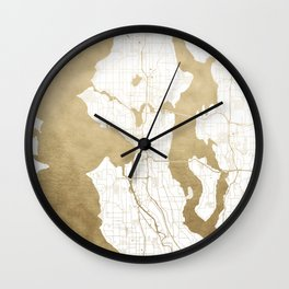 Seattle White and Gold Map Wall Clock