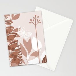 Botanicals and Butterfly Graphic Design 2 Sherwin Williams Cavern Clay SW7701 Stationery Cards