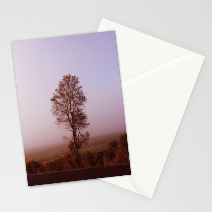 Standing alone in the fog Stationery Cards