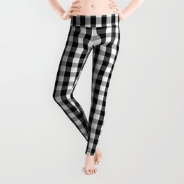 Classic Black & White Gingham Check Pattern Leggings