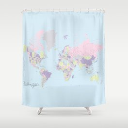 Pastels world map, highly detailed, The world is your oyster, square Shower Curtain