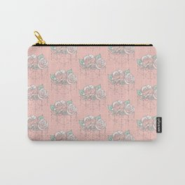 Pretty Pink Rose Pattern Carry-All Pouch