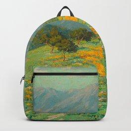 Granville Redmond snow cap spring landscape painting orange flowers green field Backpack