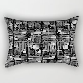 Black and White Linear Ethnic Print Pattern Rectangular Pillow
