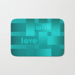 A satin ribbon .Turquoise background . With love. Bath Mat