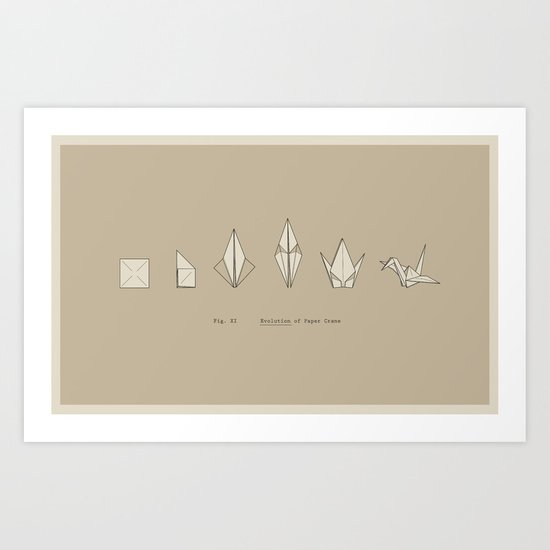 Evolution of Paper Crane Art Print