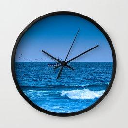 Deep Blue Fishing Wall Clock
