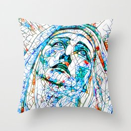 Glass stain mosaic 8 - Madonna, by Brian Vegas Throw Pillow